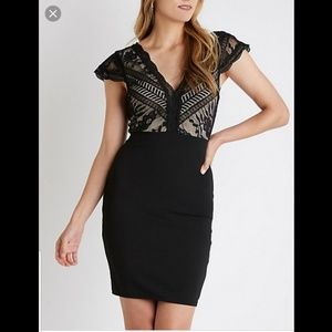 Black and nude lace holiday dress
